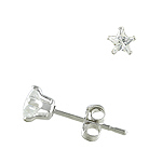 Sterling Silver 4mm Star CZ Stud Earrings