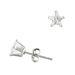 Sterling Silver 6mm Star CZ Stud Earrings