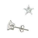 Sterling Silver 7mm Star CZ Stud Earrings