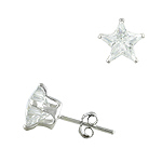 Sterling Silver 8mm Star CZ Stud Earrings