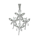 Sterling Silver Four Butterflies Pendant with White CZ