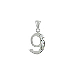 "Sterling Silver 9 ""Nine"" Pendant with Channel Set White Cubic Zirconia"