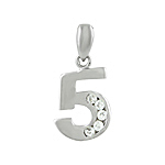 "Sterling Silver 5 ""Five"" Pendant with Channel Set White Cubic Zirconia"