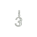 "Sterling Silver ""Three"" Pendant with White CZ"