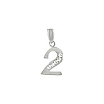 "Sterling Silver ""Two"" Pendant with White CZ"