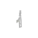 "Sterling Silver ""One"" Pendant with White CZ"