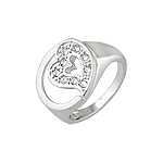 Sterling Silver Pave CZ Heart Stamp Ring