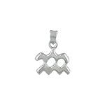 Sterling Silver Aquarius Zodiac Symbol Pendant