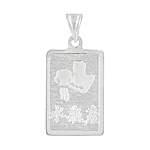 Sterling Silver Aquarius-Water Carrier Zodiac Symbol Tag Pendant