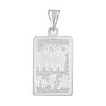 Sterling Silver Aries-Ram Zodiac Symbol Tag Pendant