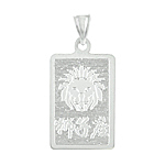 Sterling Silver Leo-Lion Zodiac Symbol Tag Pendant