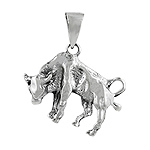Sterling Silver The Bull Zodiac Sign Pendant