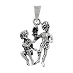 Sterling Silver The Twins Zodiac Sign Pendant
