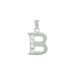 "Sterling Silver ""B"" Pendant with White CZ"