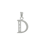 "Sterling Silver ""D"" Pendant with White CZ"