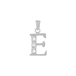 "Sterling Silver ""E"" Pendant with White CZ"