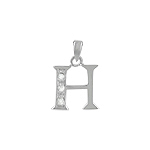 "Sterling Silver ""H"" Pendant with White CZ"