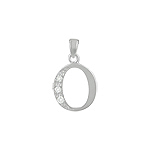 "Sterling Silver ""O"" Pendant with White CZ"