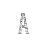 "Sterling Silver Pave CZ ""A"" Pendant"