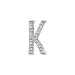 """Sterling Silver Pave CZ """"K"""" Pendant"""