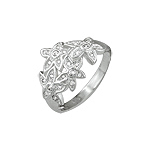 Sterling Silver Four Pave CZ Flowers Ring