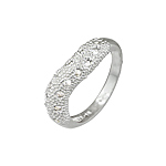 Sterling Silver Textured Wave Ring with Etoile CZ