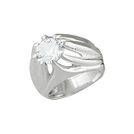 Sterling Silver Elevated Design White CZ Ring