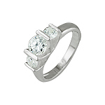 Sterling Silver Triple CZ Ring
