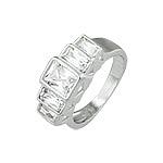 Sterling Silver Emerald Cut Five CZ Ring
