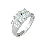 Sterling Silver Emerald Cut Three CZ Ring