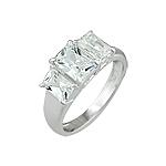 Sterling Silver Emerald Cut Three CZ Ring