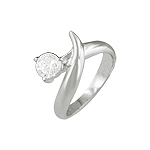 Sterling Silver Head and Tail Ring with Round White CZ