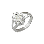 Sterling Silver Oval Flower Ring with White CZ