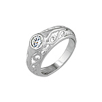 Sterling Silver Filigree Ring with Bezel Set CZ