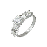 Sterling Silver Five Round CZ Ring