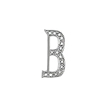 "Sterling Silver Pave CZ ""B"" Pendant"
