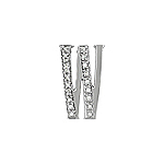"Sterling Silver Pave CZ ""W"" Pendant"