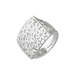 Sterling Silver Square Ring with Flowers