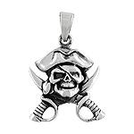 Sterling Silver Pirate Skull Pendant