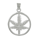 Sterling Silver Marijuana Circle Pendant