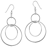 Sterling Silver Circle Loop Dangle Earrings