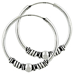 "Sterling Silver Bali Style Beaded 1 3/16""  Hoop Earrings"
