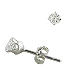 Sterling Silver 4mm Invisible Cut Round CZ Stud Earrings