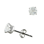 Sterling Silver 5mm Invisible Cut Round CZ Stud Earrings