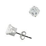 Sterling Silver 6mm Invisible Cut Round CZ Stud Earrings