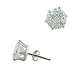 Sterling Silver 8mm Invisible Cut Round CZ Stud Earrings