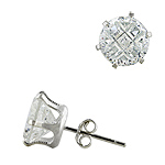 Sterling Silver 9mm Invisible Cut Round CZ Stud Earrings