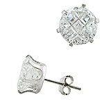 Sterling Silver 10mm Invisible Cut Round CZ Stud Earrings