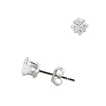 Sterling Silver 4mm Invisible Cut Square CZ Stud Earrings