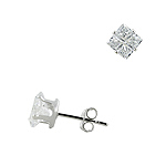 Sterling Silver 6mm Invisible Cut Square CZ Stud Earrings